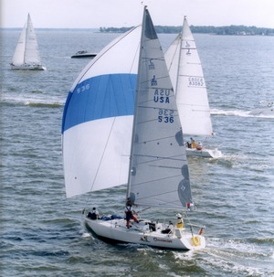 JBoats J105 under asymmetric spinnaker with bow sprit extended